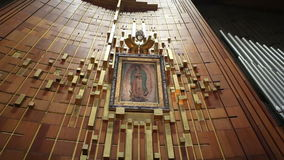 Painting of Guadalupe Virgin, Mexico City stock video footage