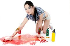 Painting with hands Royalty Free Stock Images