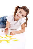 Painting a happy sun Stock Photography