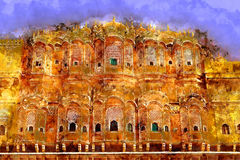Painting Hawa Mahal - Wind Palace in Jaipur, Rajasthan, India. Hawa Mahal - Wind Palace in Jaipur, Rajasthan, India Stock Photos