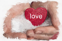 Painting of a heart in the hands Royalty Free Stock Photography