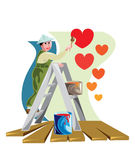 Painting a heart shape - Valentine theme image. Royalty Free Stock Photography