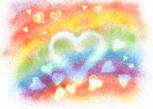 Painting with hearts and rainbow colored background Stock Photo