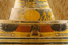 Painting found in the tomb of King Tut in the Valley of the Kings in Luxor, Egypt. Painting with hieroglyphs found in the tomb of King Tut in the Valley of the royalty free stock photos