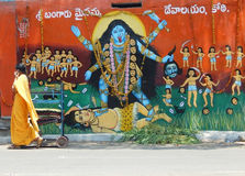 Painting of hindu goddess Durga on street side temple Royalty Free Stock Image