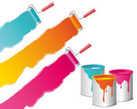 Painting - Home Improvement. Three colors painting wirh roller illustration Royalty Free Stock Image