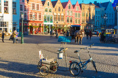 Painting with Horse carriage of Brugge Christmas Stock Image