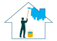 Painting the house. Illustration of painting the house design isolated on white background Royalty Free Stock Photos
