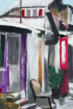 Painting of house landscape. House painting, oil on canvas Stock Images