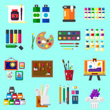 Painting icons flat set of graphic arts Stock Images