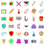 Painting icons set, cartoon style Stock Images