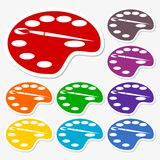 Painting icons stickers set Royalty Free Stock Photography