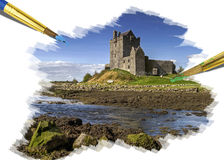Painting idyllic castle Stock Image