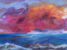 A painting, illustration of a bright sunset over the sea. Royalty Free Stock Image