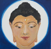 A painting, illustration of a Buddha head on a blue and white background. Stock Photos