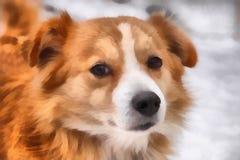 Painting illustration of dog. Art background Royalty Free Stock Images