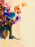 Painting imagination colorful of beauty flowers bouque Stock Photos