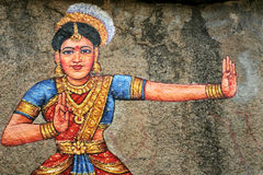 Painting of Indian dance on a stone Royalty Free Stock Photo