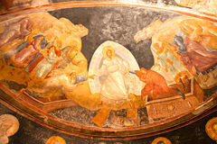 Painting inside Chora museum, Istanbul, Turkey. Royalty Free Stock Images