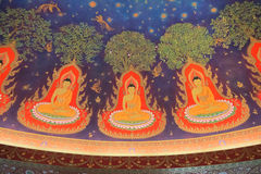 Painting interior of Buddhas in Wat Paknam , Thailand Royalty Free Stock Images