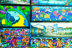 Painting from Isaac Andrade at Mercado Modelo in Bahia, Brazil Royalty Free Stock Photos