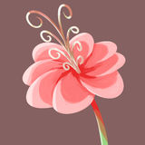 Painting isolate fantasy flower pink Stock Photography