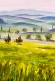 Painting with italian country landscape. Typical tuscan hills with cypress and farmland. Hand drawn illustration. Artwork Italian tuscany cypresses landscape Royalty Free Stock Image