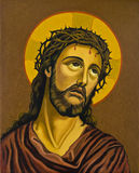 Painting of Jesus. Detailed painting of Jesus Christ with crucifix Royalty Free Stock Photography