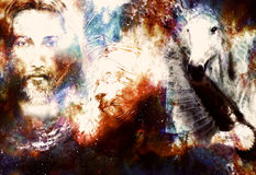Painting of Jesus with animals in cosimc space, eye contact and lion profile portrait. Painting of Jesus with animals in cosimc space, eye contact and lion Royalty Free Stock Photos
