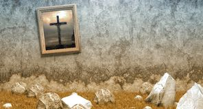 Painting jesus grass old crumbling wall. Old framed image of Crucifixion on crumbling wall in rocky field with dying grass Royalty Free Stock Image
