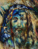 Painting of Jesus with a lion, on beautiful colorful background, eye contact and lion profile portrait. Stock Image