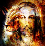 Painting of Jesus with a lion, on beautiful colorful background with hint of space feeling, lion profile portrait. Stock Image