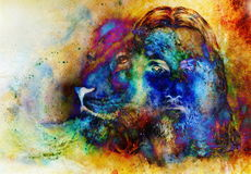 Painting of Jesus with a lion, on beautiful colorful background with hint of space feeling, lion profile portrait. Stock Images