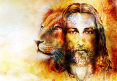 Painting of Jesus with a lion, on beautiful colorful background with hint of space feeling, lion profile portrait. Royalty Free Stock Photo