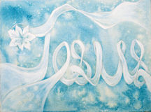 Painting of Jesus Name with little white flower on blue background. Stock Photos