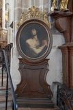 Painting of Joseph, husband of the Blessed Virgin Mary, Interior Piarist Church, Krems on the Danube, Austria stock images