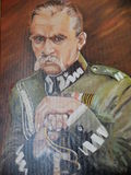 The painting of Jozef Pilsudski Stock Images