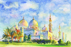 Painting Jumeirah Mosque. Hand drawn muslim sight. Watercolor arabian illustration. With sky, Dubai, palm, clouds Stock Photo