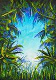 Painting Jungle. blue sky, palm trees, creepers, green leaves, tall grass. Beautiful background. Illustration. Postcard. Royalty Free Stock Images