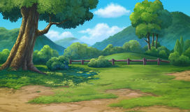 Painting for jungle and mountain Stock Photo