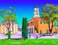 Painting of Kamenets-Podolskiy Ratusha Royalty Free Stock Photos
