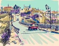 Painting of Kamenetz-Podolsky town stock illustration
