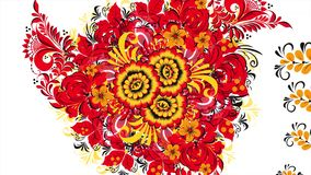 Painting Khokhloma Russia of bright red flowers and berries on white background. Abstract fractal transformation. Background. Red Khokhloma on a white stock footage