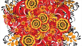 Painting Khokhloma Russia of bright red flowers and berries on white background. Abstract fractal transformation stock illustration