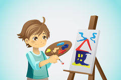 Painting kid. A vector illustration of a kid painting on a canvas Stock Photos