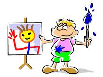 Painting kid - funny illustration. Little boy admiring her work of heart. Conceptual illustration to encourage art and expression through painting in preschool Vector Illustration
