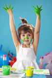 Painting kid girl Stock Photo