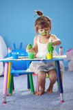 Painting kid girl Royalty Free Stock Photo
