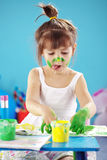 Painting kid girl Stock Image