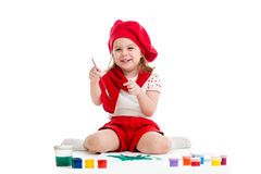 Painting kid girl Stock Images